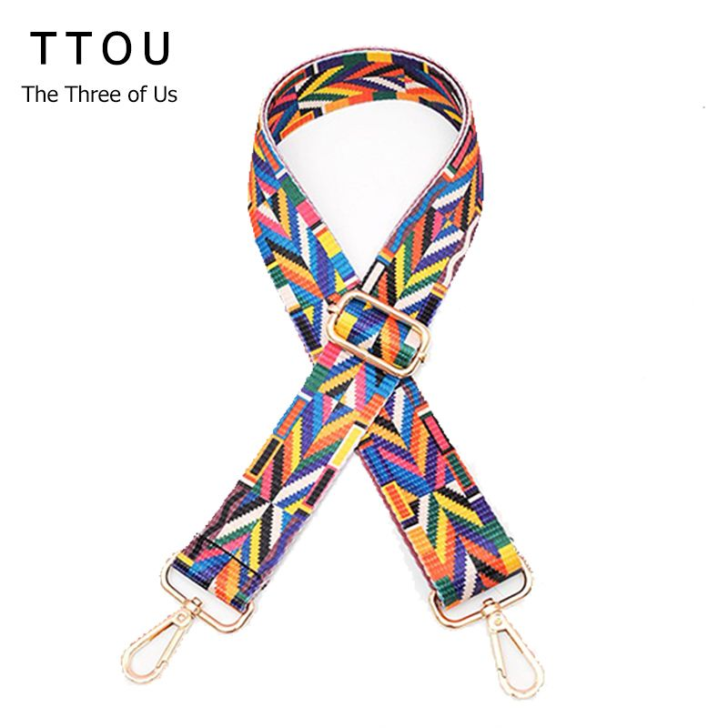 TTOU Women New handbags Strap Woven Design National Gold Buckle Cotton Bag Straps New Trendy Easy Holding Shoulder Straps