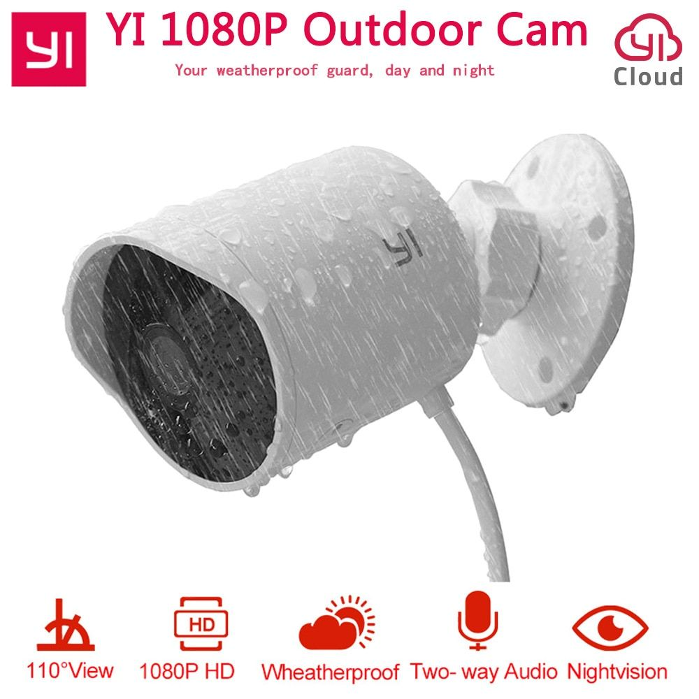 YI Outdoor Security Camera 1080P HD Two-way Audio IP Waterproof Cloud Cam Wireless Night Vision Security Surveillance System