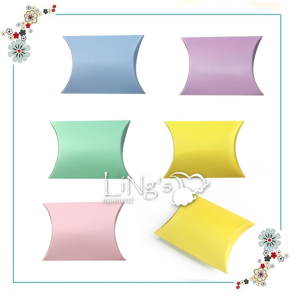 20 X Pillow Shape Candy Box Wedding Favor Gift Boxes Kids Birthday Party Decoration Pink/Lavender/Yellow/Light Blue/Green