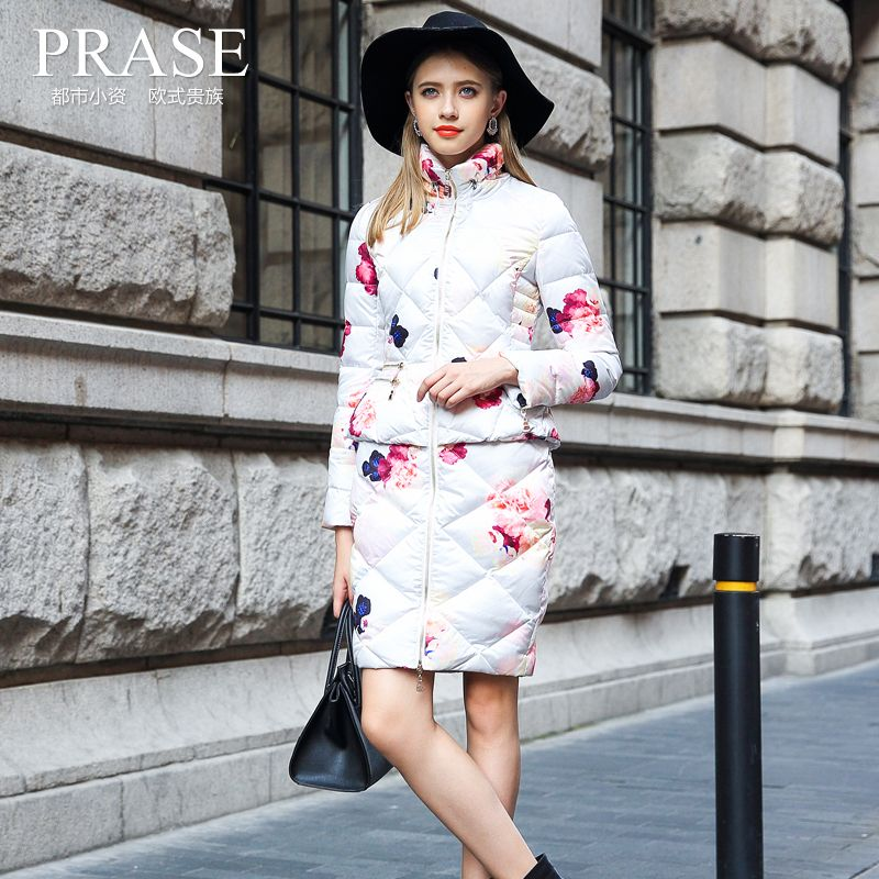 2017 New Arrival Long Sleeve Zipper Special Offer Prase Women's Winter Print Down Coat Medium-long Female Outerwear Thickening
