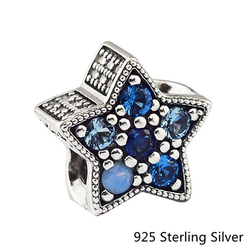 CKK 925 Sterling Silver Jewelry Blue Bright Star Original Fashion Charms Beads Fits Fandola Bracelets