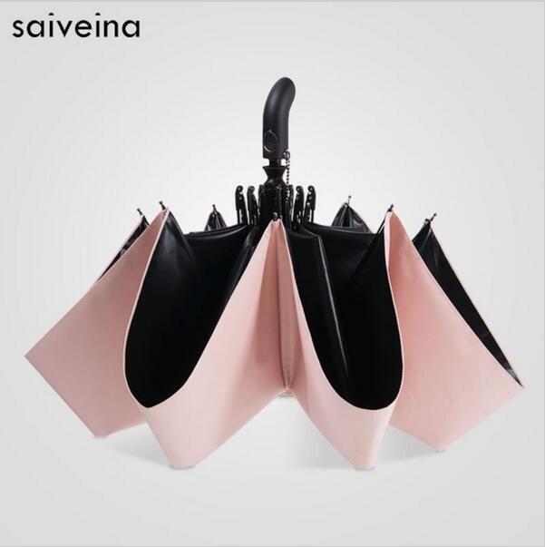 SAIVEINA pongé imperméable Anti UV Protection solaire Parasol complètement automatique ouvert et fermé noir revêtement femmes pluie parapluies coréen