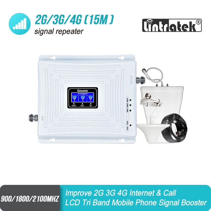 Lintratek 2G GSM 900 3G 2100 LTE 1800 Cellular Signal Booster Tri Band Repeater LCD Display Mobile Phone 4G Amplifier Set S8+2
