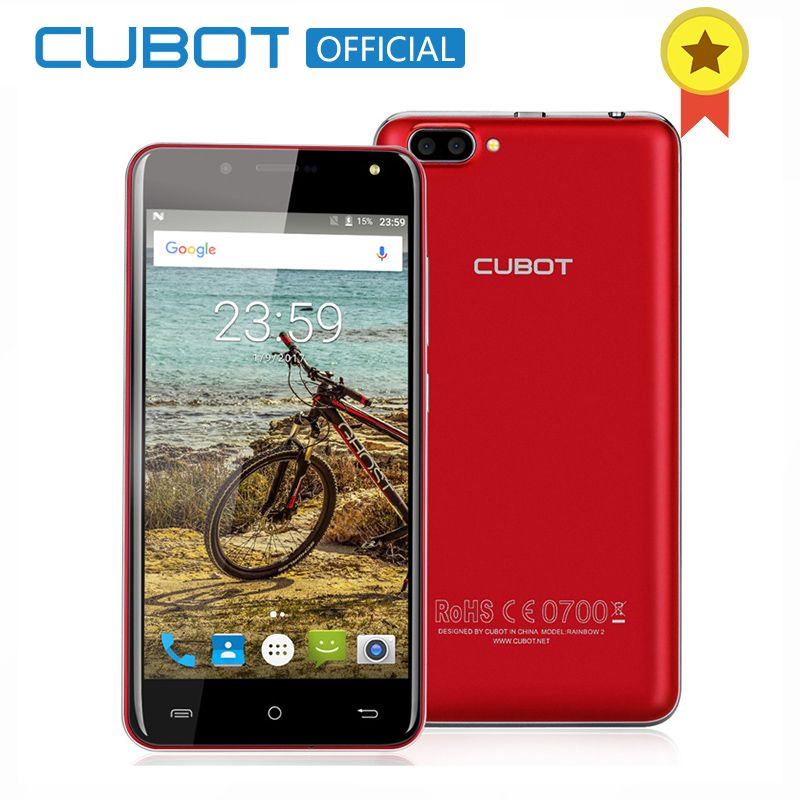 CUBOT Rainbow 2 5.0 Inch HD Android 7.0 Smartphone MTK6580A Quad Core Cell Phone 1GB RAM 16GB ROM Rear Dual Cameras Mobile Phone