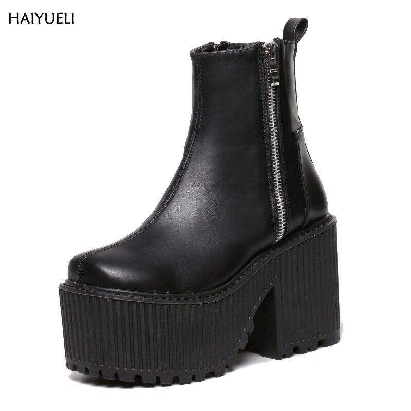 Botines Tacon Mujer Black /White Platform Boots Punk Rock Motorcycle Boots Zipper Chunky Ankle Boots High Heel Martin Boots