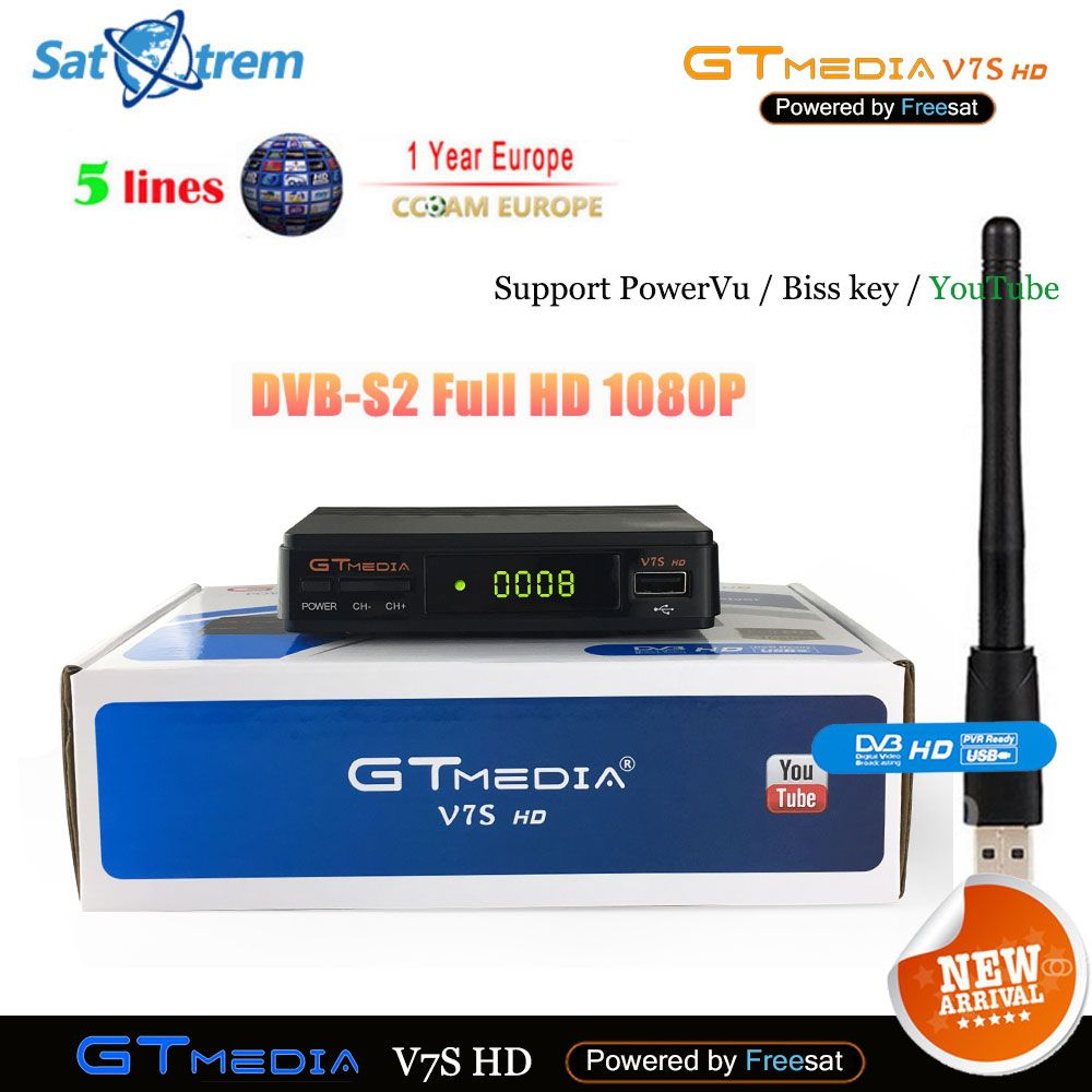 Cccam Cline For 1 Year Europe Spain DVB-S2 Freesat GTmedia V7S HD Satellite Receiver Upgrade From V7 HD DVB S2 Digital Receptor