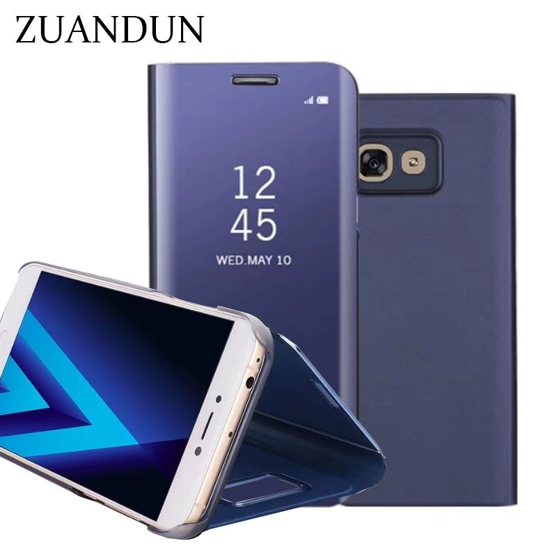 Smart Mirror Clear View Flip Case For Samsung Galaxy A5 A7 A3 2017 Luxury Stand PU Leather Cover For Samsung A5 2017 Phone Case