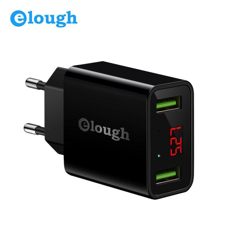 Elough USB Chargeur pour iPhone Samsung Xiaomi LED Affichage 5 v 2.1A Dual USB Port Chargeur Mobile Téléphone De Charge USB adaptateur Turbo