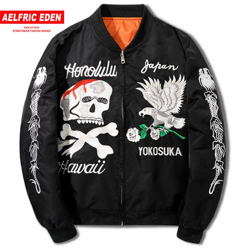 Aelfric Eden Dropshipping Men Jackets Kanye West Bomber Jacket 2018 New Embroidery Skulls Eagle Spring Black Jacket Coat LQ02