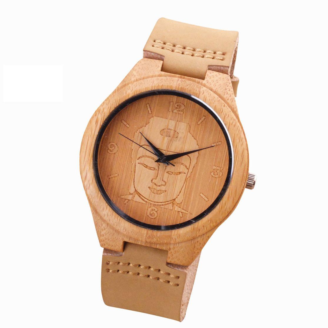 2018 бамбуковое дерево часы минималистский Будды Пояса из натуральной кожи ремешок Природа Дерево браслет наручные часы унисекс Reloj Hombre часы