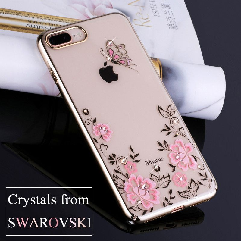 KAVARO for iPhone 7 Plus 8 Plus Case Plated PC Butterfly Flower Swarovski Element Crystals Diamond Case for iPhone 8 Plus Cover