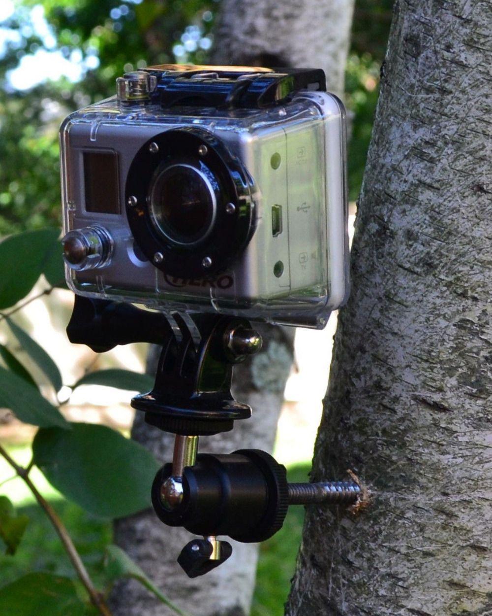 Support de trépied en bois à vis support de support de pic d'arbre pour caméra d'action GoPro, Samrtphone, SJCAM, support de caméra de piste de chasse