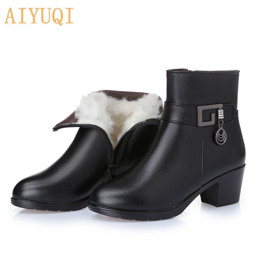 Bottes pour femmes en cuir véritable 2019 hiver laine épaisse doublée en cuir véritable femmes bottes de neige, grande taille mère bottes chaudes,