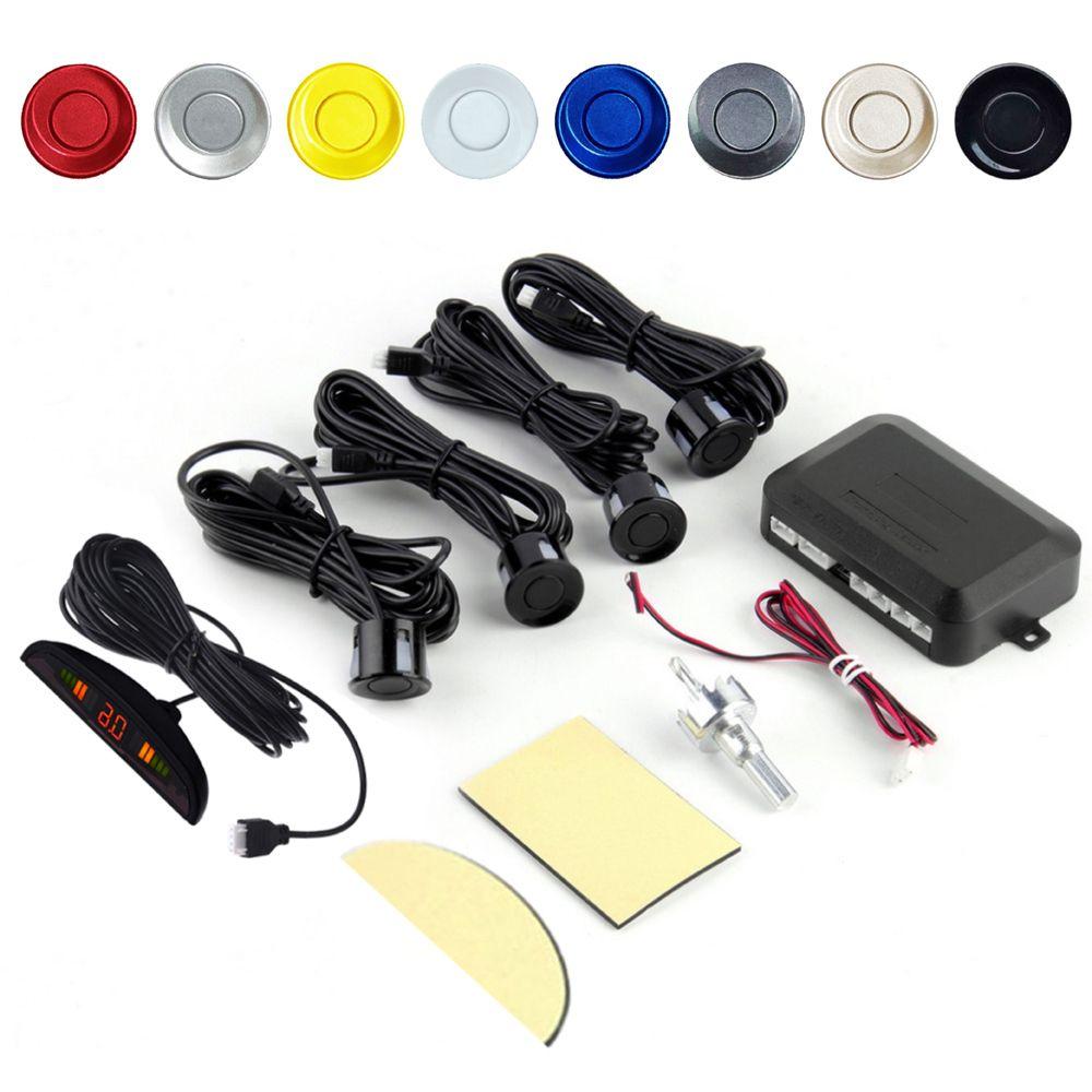 EzoneTronics Car LED Parking Sensor Kit Display 4 Sensors 22mm 12V for all cars Reverse Assistance Backup Radar Monitor System
