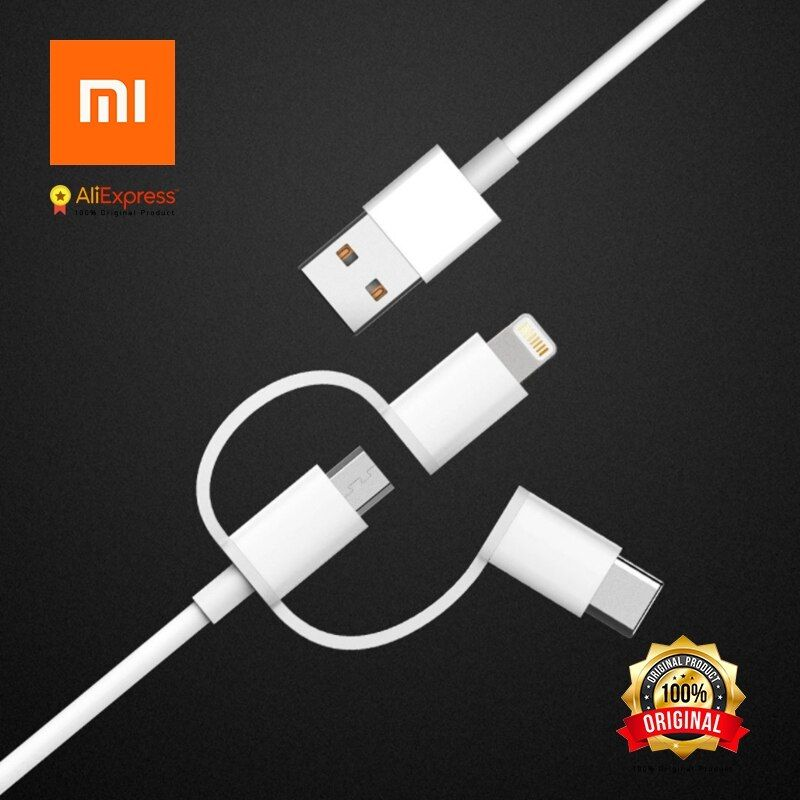 Xiaomi Original 3 in 1 Data Cable 100cm Micro USB, Lightningg, Type-C Official Certification of Applle for Android and iPhone