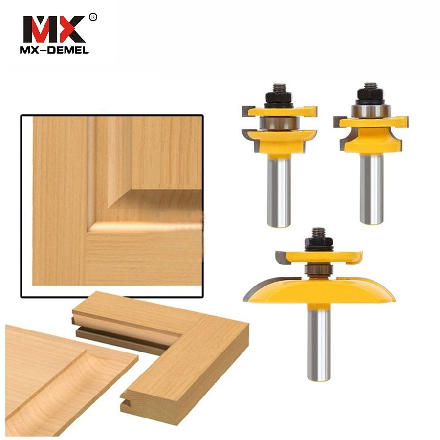 3Pcs 1/2'' Shank Rail & Stile Ogee Blade Cutter Panel Cabinet Router Bits Set Milling cutter Power Tools Door knife Wood Cutter