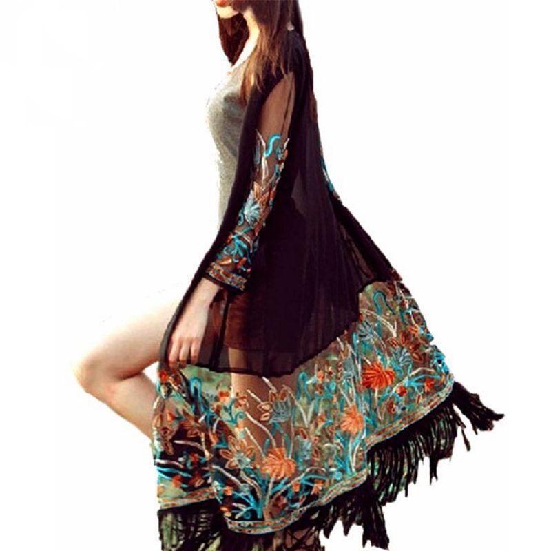 Summer Autumn Long Cardigan Blusas Women Vintage Boho Floral Tassel Beach Cover Up Tops Chiffon Blouse Shirts