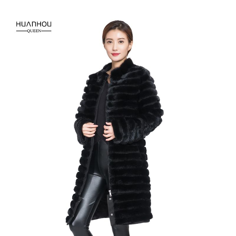 HOUAN HOU UQEEN mink fur coat women long style stand collar extra large plus size real fur coat
