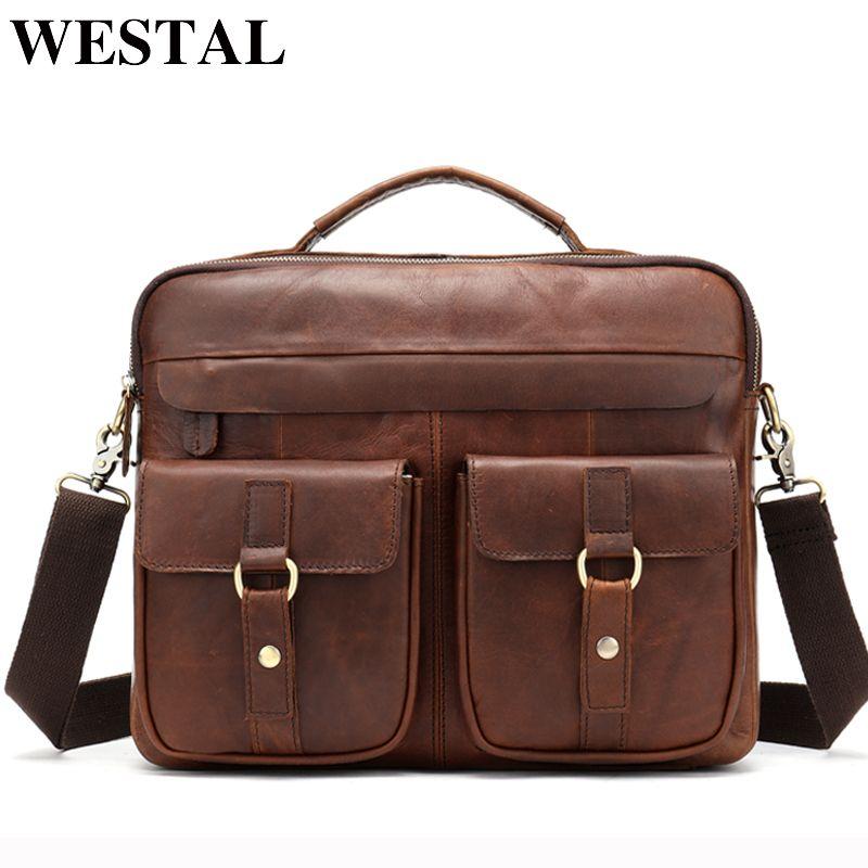WESTAL Bag Men's Genuine Leather Messenger Shoulder Bag for Men Business Laptop Briefcase Male Crossbody Bags for Documents 8001