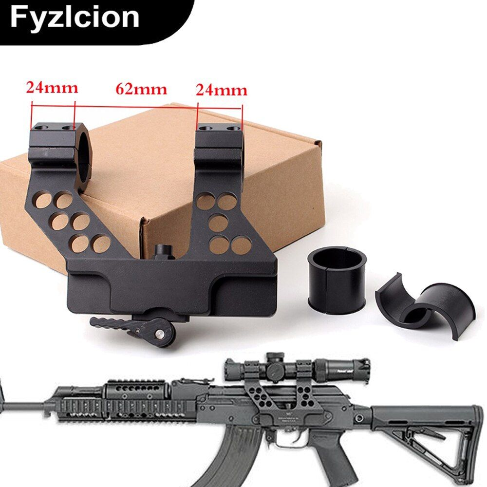 New Arrival Hunting Quick Detach AK Side Rail Scope Mount with Integral 1 Inch 25mm/30mm Ring For AK47 Black