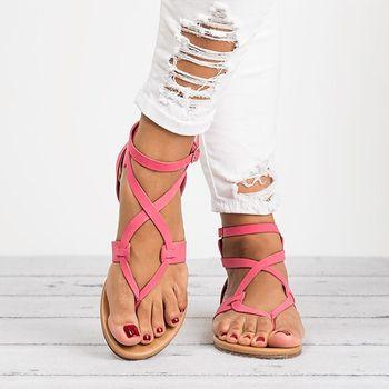 Femmes Sandales Plus La Taille 35-43 Gladiateur Sandales Pour Femmes Chaussures D'été Femme Plage Plat Sandales Chaussures Femmes Rome Sandalias Muje