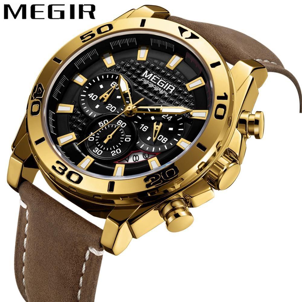 MEGIR montre de mode hommes bracelet en cuir 3 sous-dail chronographe Sport Quartz horloge Top marque de luxe doré homme montre-bracelet relogio
