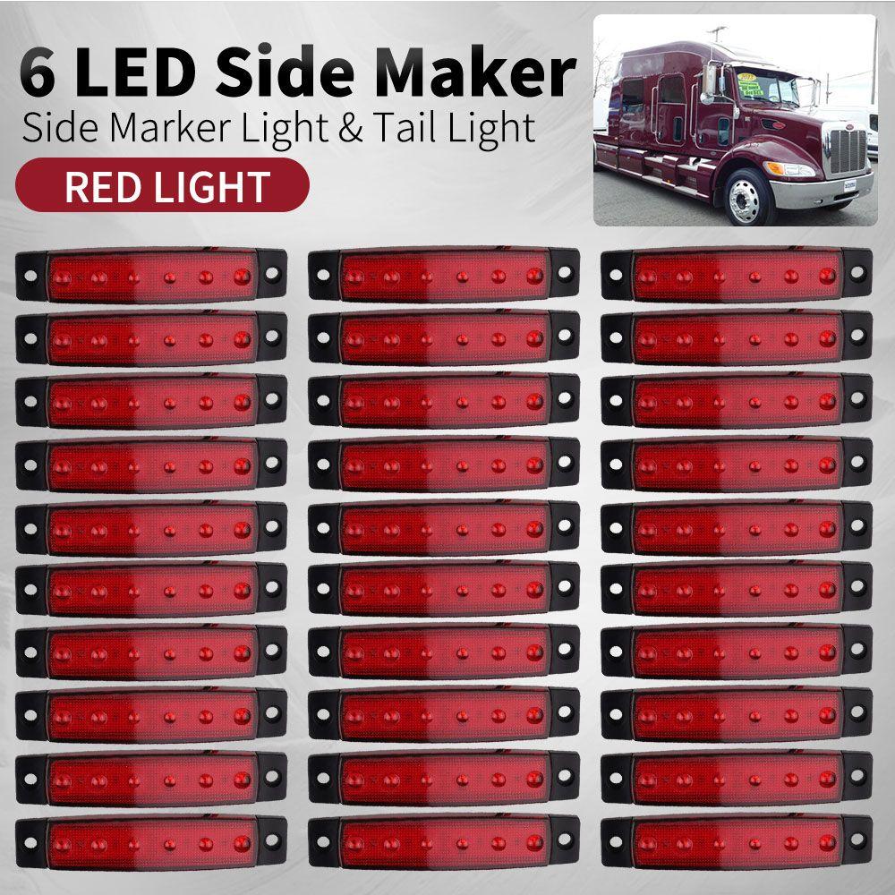 Car External Lights 12V/24V LED 6 SMD LED autos Car Bus Truck Lorry Side Marker Indicator low Led Trailer Light Rear Side Lamp