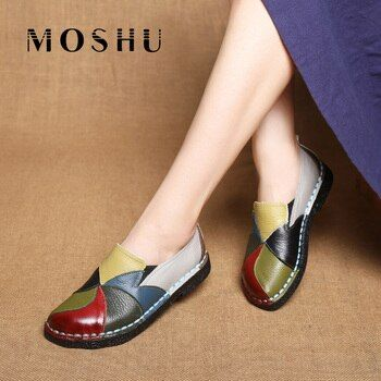2020 women flat shoes Slip On Women's Loafers Cow Leather Shoes mix color ballerine femme Plus Size zapatos de mujer