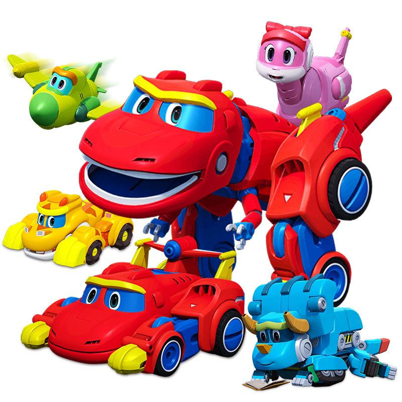 Newest Big Gogo Dino ABS Deformation Car/Airplane With Sound Action Figures REX/PING/TOMO Transformation Dinosaur toys for Kids