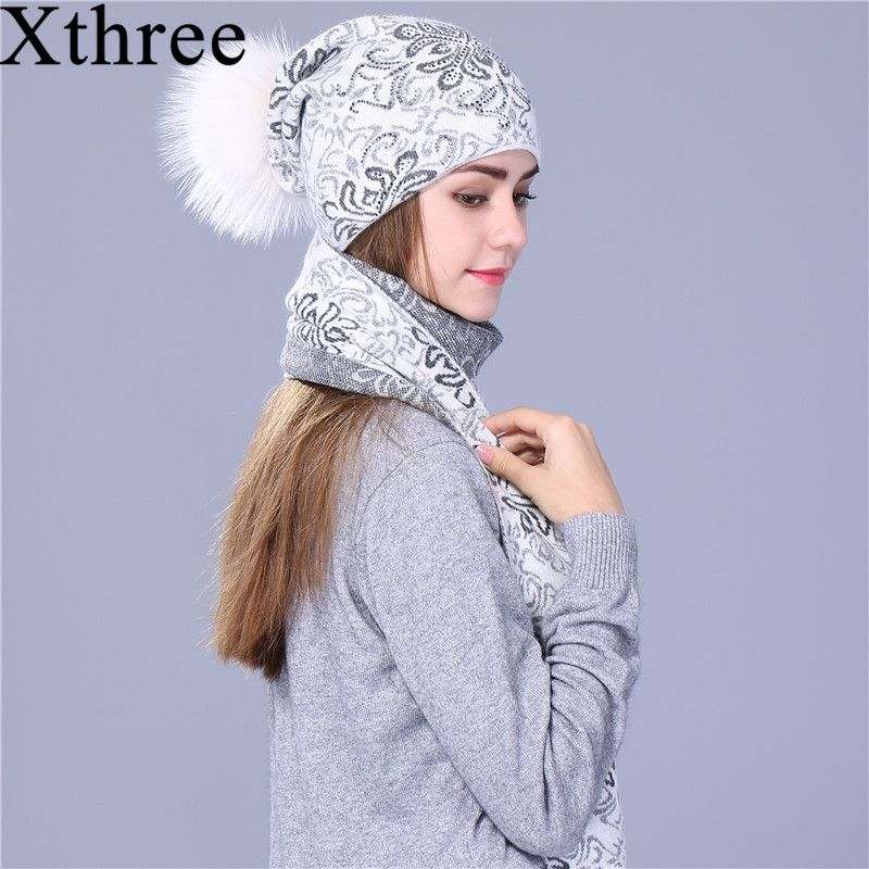 Xthree Chinese style winter scarf hat set Thick Double-deck Warm wool Knitted hat scarf for women big real mink fur pom pom