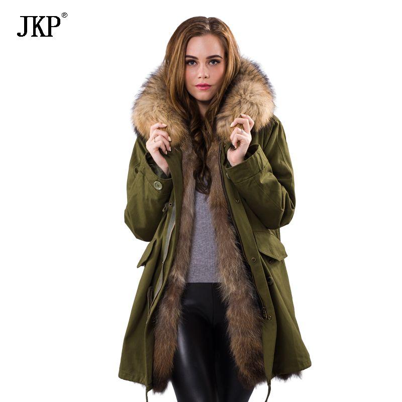 2018 Winter Frauen Echtpelz Parka Weibliche Damen Jacke Abnehmbare Waschbärpelz Futter Parka Mantel Big Echt Waschbären Pelzkragen 1025