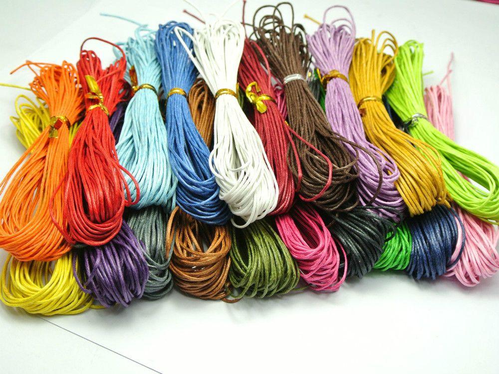 200 mètres de couleur mélangée coton ciré cordon de perles 1mm pour Bracelet collier 20 couleur