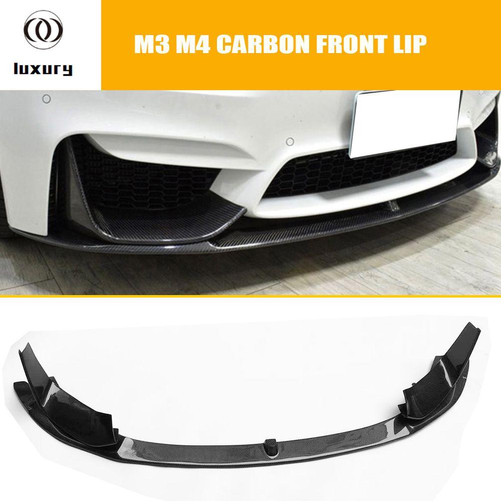 M3 M4 Carbon Fiber Front Bumper Lip Chin Spoiler Mit Abnehmbare Seite Splitter für BMW F80 M3 F82 F83 M4 coupe & Cabrio