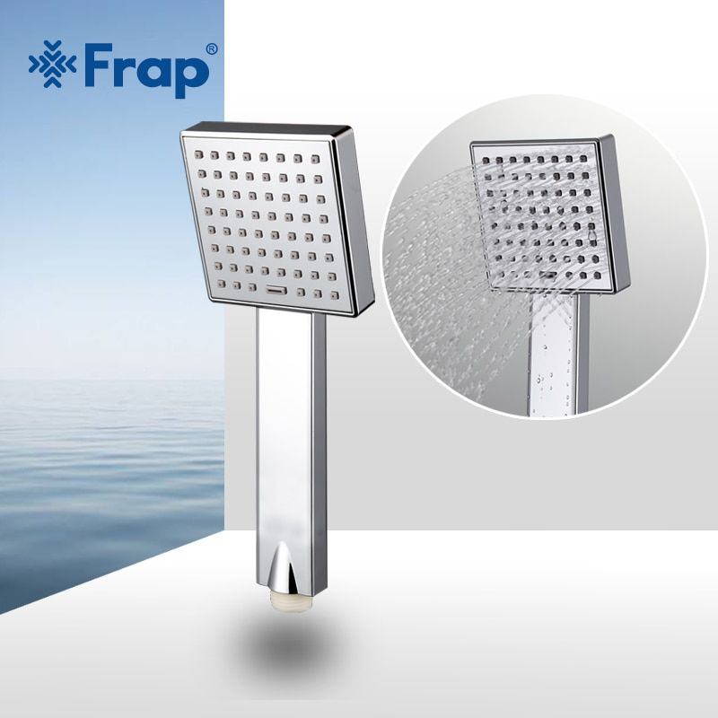 Frap économie d'eau carré pomme de douche ABS en plastique main tenir bain douche accessoires de salle de bain F002
