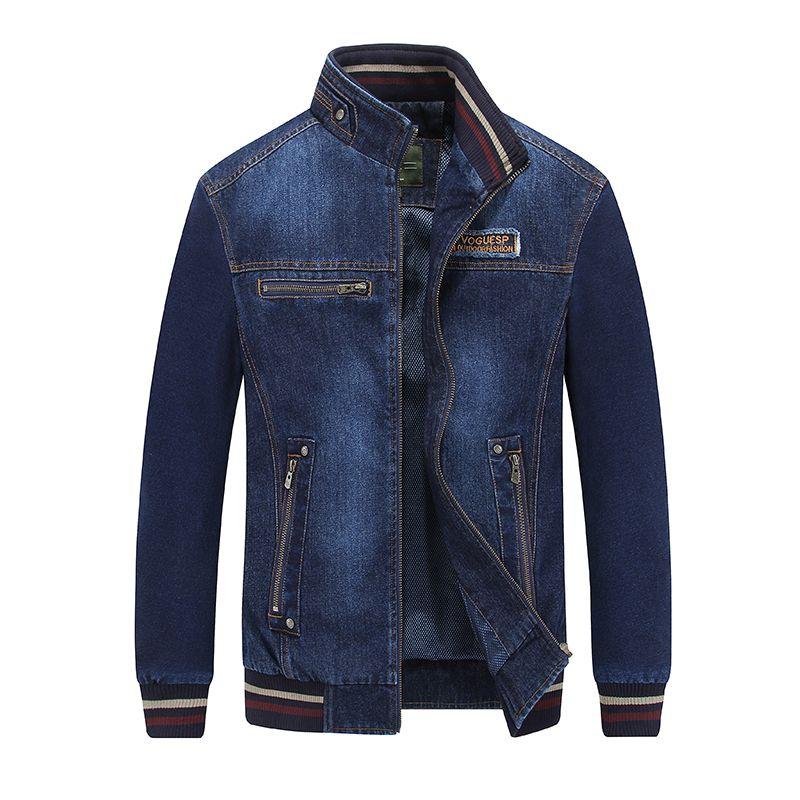 AFS JEEP 2018 Nouvelle mode denim veste hommes street wear stand collar zipper casual hommes veste manteau jaqueta jeans masculina