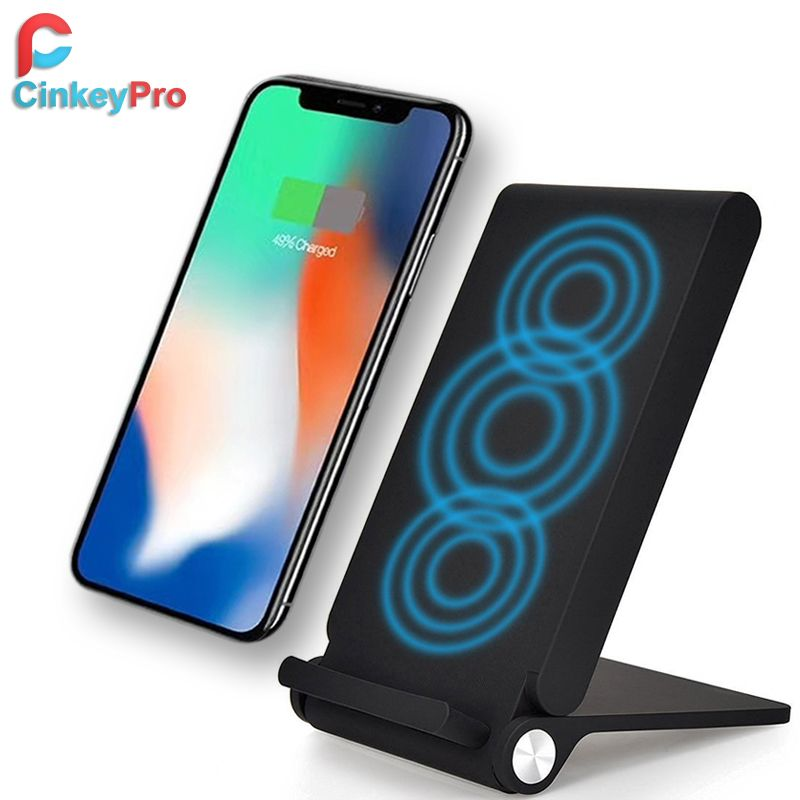 CinkeyPro QI Wireless Charger Dock Holder for iPhone 8 10 Samsung Galaxy S6 S7 S8 Edge Pad Charging Stand 5V 1A Adapter Charge
