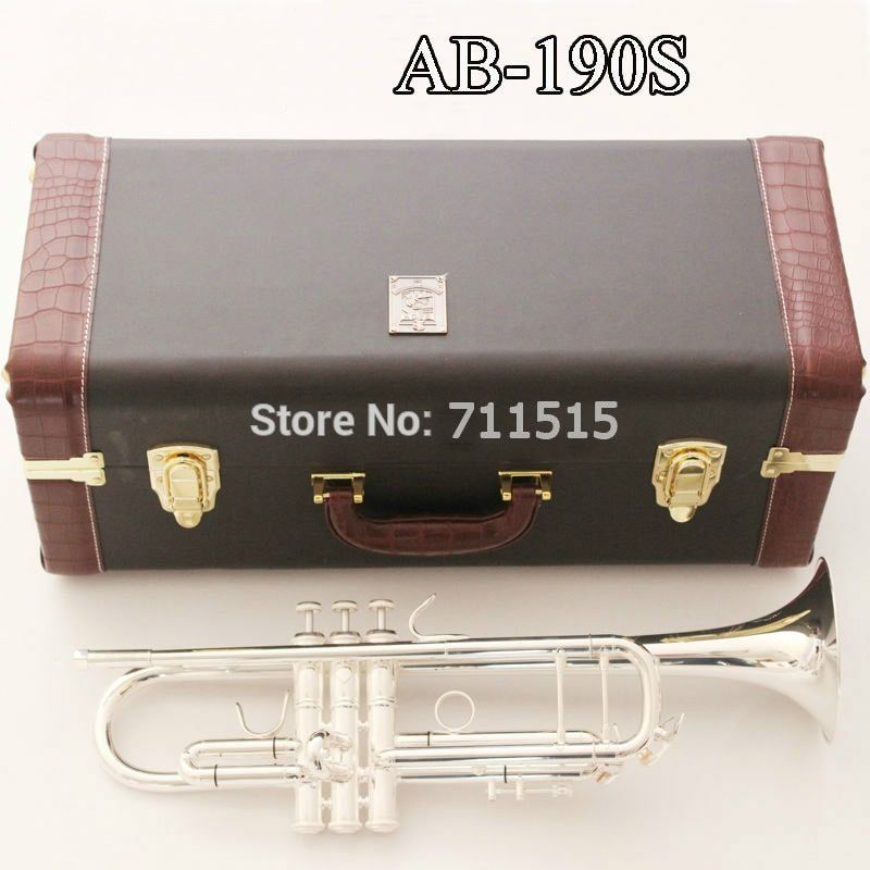 New High Quality AB-190S Brass Bb Trumpet silver plated Professional Musical Instruments with Case Mouthpiece Accessories