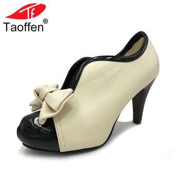 Для женщин Обувь на высоких каблуках новые пикантные женские бежевые с бантом Винтаж бантом Туфли-лодочки на платформе круглый носок дамы ...
