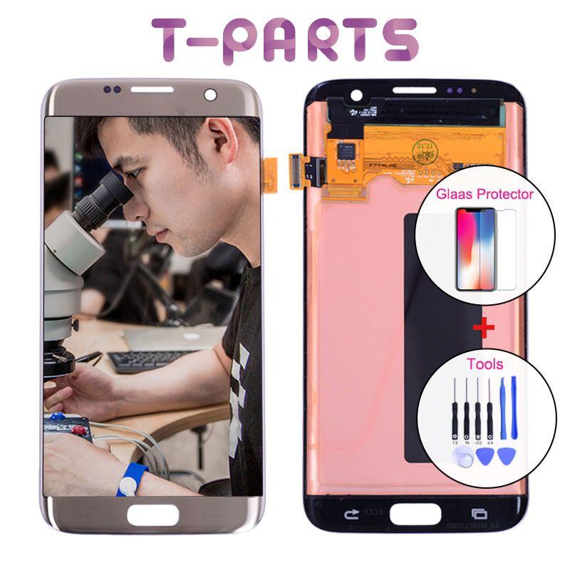 5,5 zoll Echt AMOLED LCD für SAMSUNG Galaxy S7 Rand Display Touchscreen Digitizer SM-G935 G935F G935FD G935p G935A Ersatz