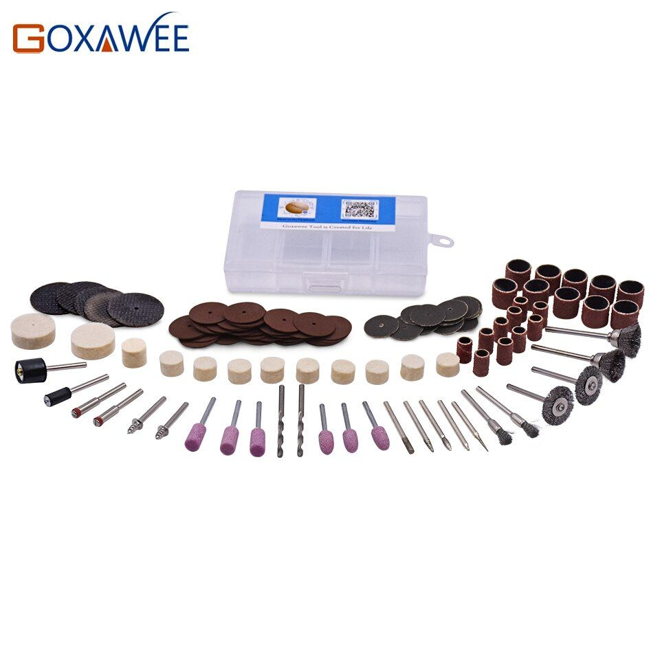GOXAWEE 119Pcs Wood Metal Engraving Electric Rotary Tool Accessory for Dremel Bit Set Grinding Polishing Cutting Cut 1/8