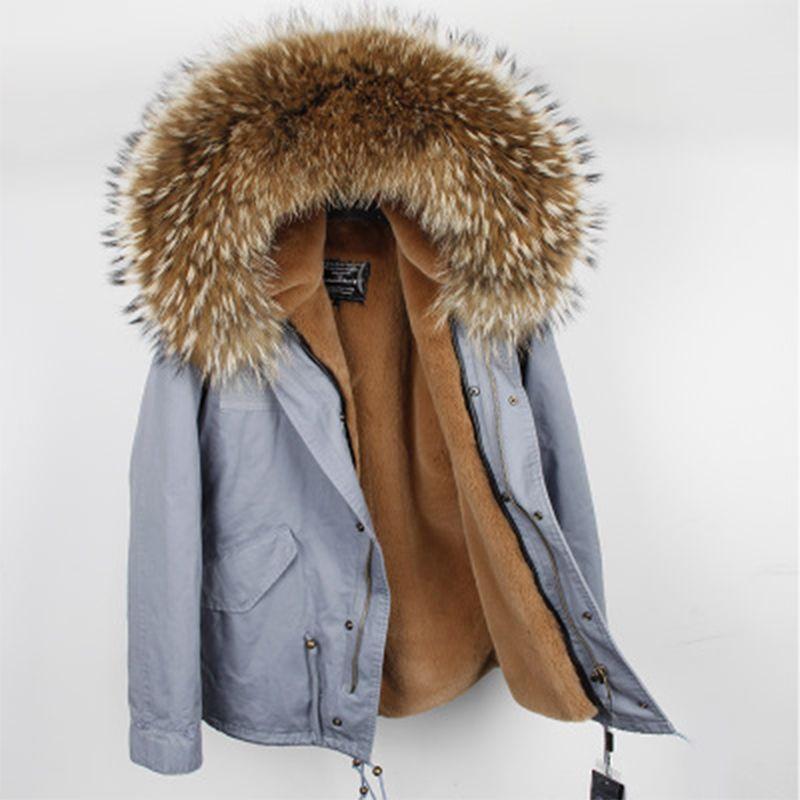 2018 neue Frauen winter mantel outwear warme natürliche große waschbären pelz kragen echtpelz parka trennbar faux pelz liner