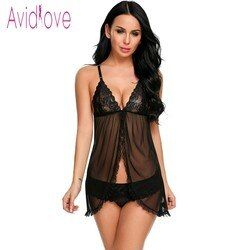 Avidlove erótica Encaje Ropa interior sexy lingerie sexy Hot Erotic babydoll vestido mujeres Encaje frente abierto noche mini sexo ropa