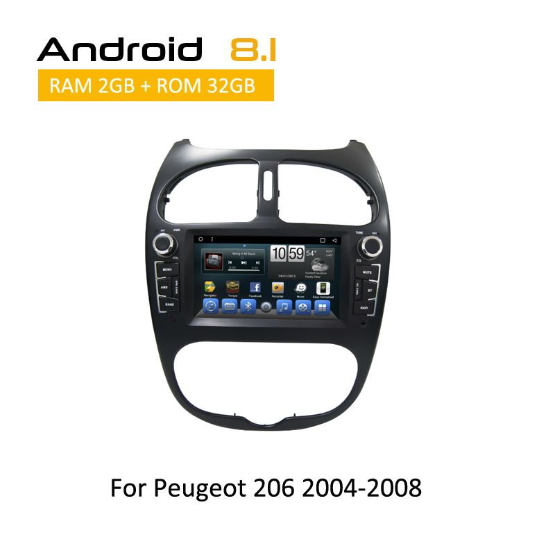 Android 8.1 Octa Core gps navigation dvd cd-player für Peugeot 206 2000 2001 2002 2003 2004 2005 2006 2007 2008 auto stereo 2 din