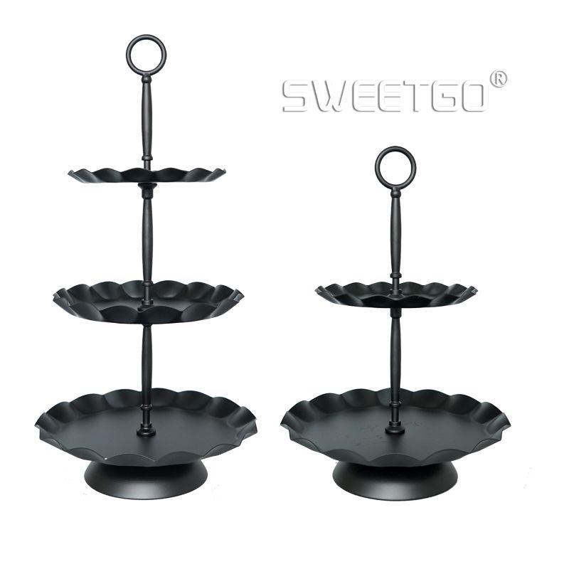 SWEETGO 3 niveaux cupcake stand noir vague bord plateau gâteau outils parti événement fournisseur décoration ustensiles de cuisson Cuisine & bar 2 pond