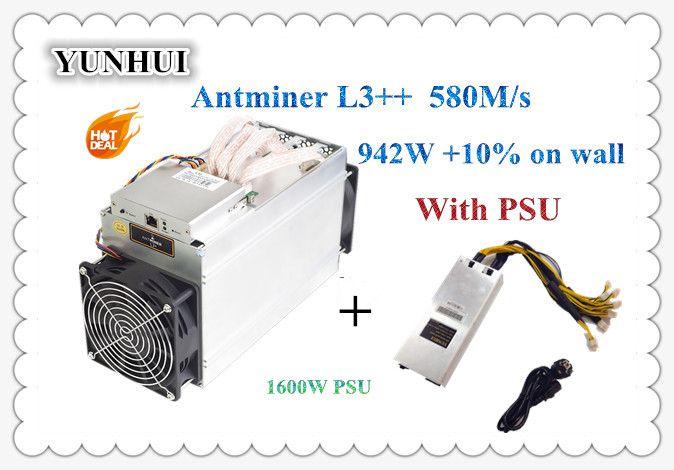 ASIC Chip Miner Neue ANTMINER L3 + + 580 mt Mit NETZTEIL Scrypt Miner LTC Litecion Bergbau Maschine Besser Als ANTMINER l3 + S9 S9i