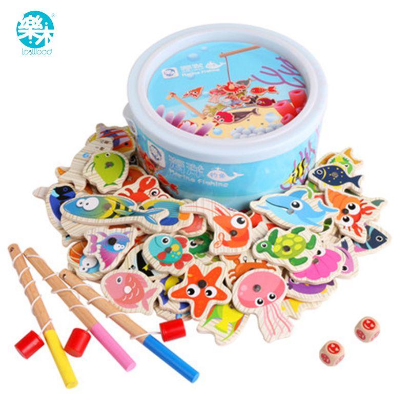 Bébé en bois jouets Modèles et Jouet de Bâtiment de pêche enfants jouets magnétique de pêche ensemble de pêche de 60 sortes de la vie marine enfants jeu