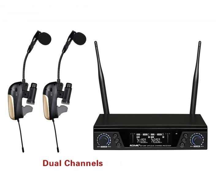 ACEMIC Pro Dual Channel Wireless Saxophone Microphone True Diversity, Wireless Saxophone System Musical Instrument Amplifier