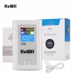 Kuwfi Dibuka Router WiFi 4G 3G 4G LTE Wireless Hotspot MiFi Dongle Mobil Router Wi-fi dengan SIM card Slot 5200 MAh Power Bank