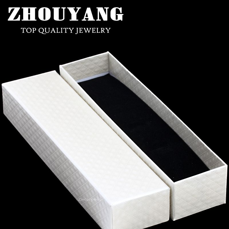 ZY-JPB002 Top Quality EU Royal Style CZ Cut Lines PU Embossing Princess White Color PACKAGING Jewelry BOX For Bracelet