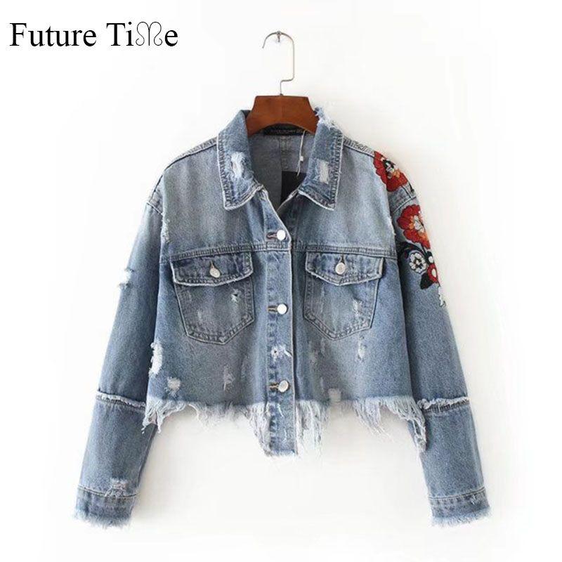 Будущее время Для женщин Джинсы для женщин куртка с цветочной вышивкой рваные короткие Куртки Осень кисточкой панк джинсовая куртка Коротк...